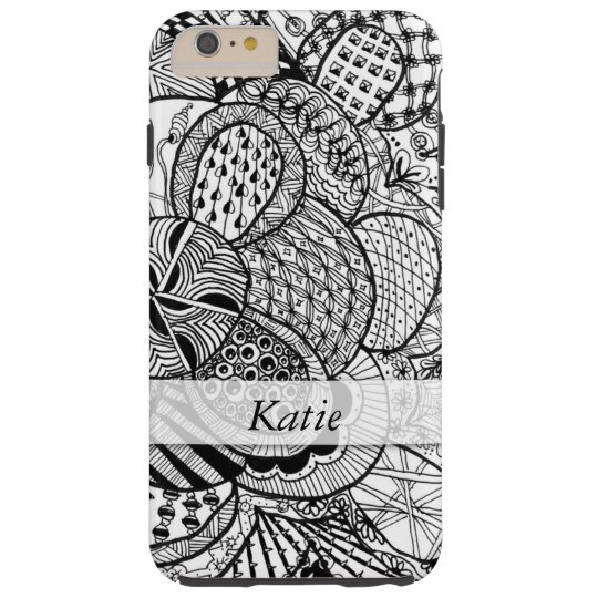 Personalised Black & White Zendoodle Tangle ZIA 07 Tough iPhone 6 Plus Case
