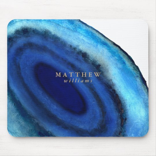 Personalised   Blue Agate Mouse Mat