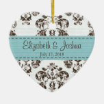 Personalised Blue and Brown Vintage Damask Wedding Christmas Tree Ornament