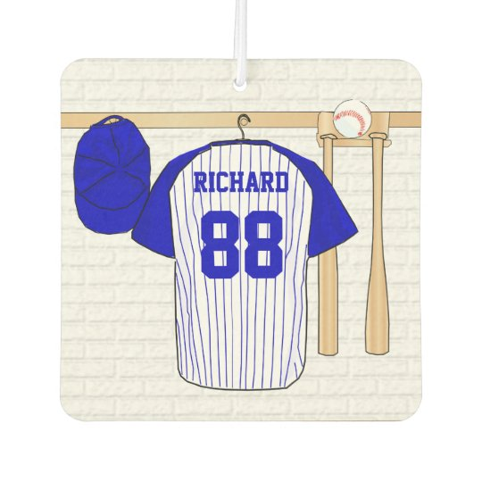 Personalised Blue and White Baseball Jersey Car Air Freshener