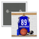 Personalised Blue and White Basketball Jersey 15 Cm Square Badge