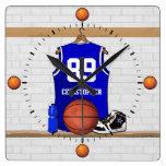 Personalised Blue and White Basketball Jersey Wallclock