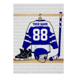 Personalised Blue and White Ice Hockey Jersey Poster