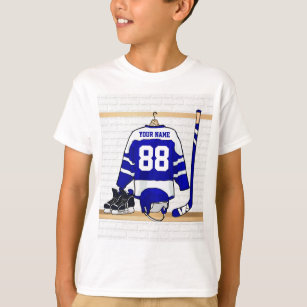 Personalised Blue and White Ice Hockey Jersey T-Shirt