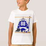Personalised Blue and White Ice Hockey Jersey Tee Shirt
