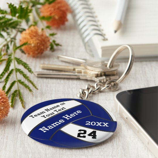 Personalised Blue and White Volleyball Keychains