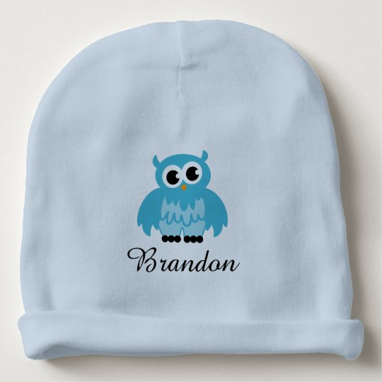 Personalised blue baby hat with cute owl bird