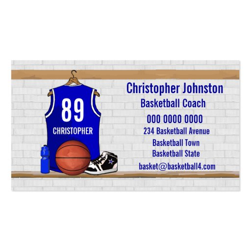 Collections of basketball business cards personalised blue basketball jersey business card template colourmoves