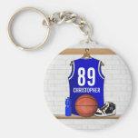 Personalised Blue Basketball Jersey Key Chain