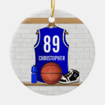 Personalised Blue Basketball Jersey Ornament