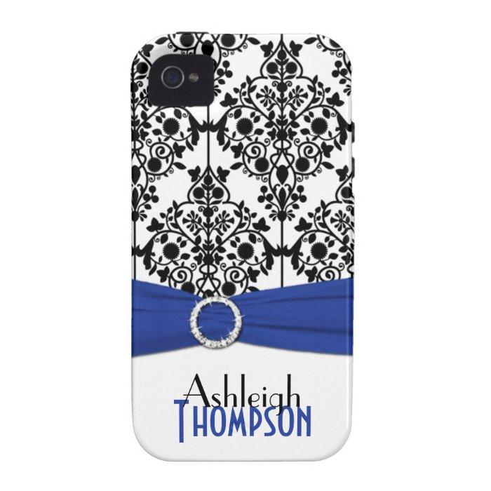 Personalised Blue, Black, White Damask Vibe iPhone 4 Case
