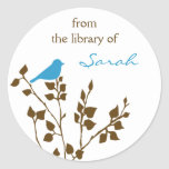 Personalised Blue Brown Bird Book Stickers