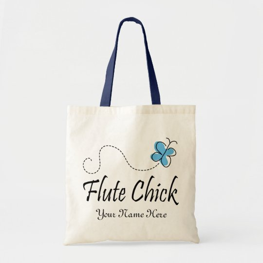 Personalised Blue Butterfly Flute Chick Music Gift Tote