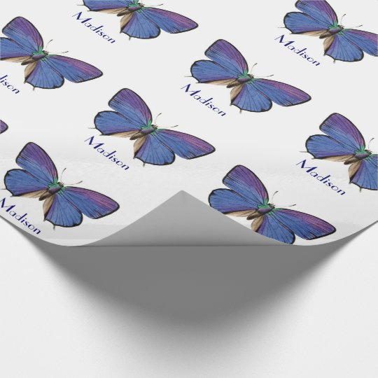 Personalised Blue Butterfly Girls Birthday Wrapping Paper