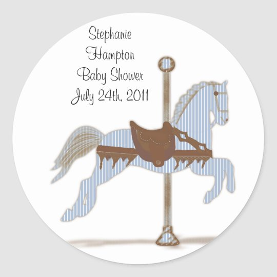 Personalised Blue Carousel Horse Sticker