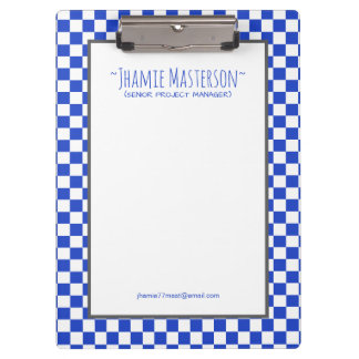 Personalised Blue Chequered Clipboard