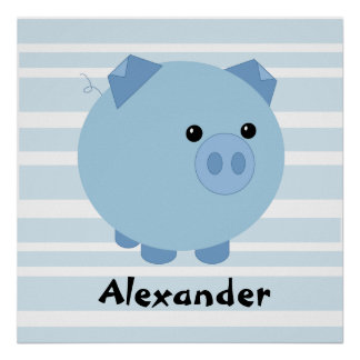 Personalised Blue Chubby Pig Poster