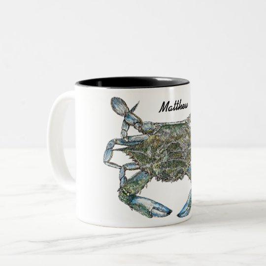 Personalised Blue Crab Two-Tone Coffee Mug
