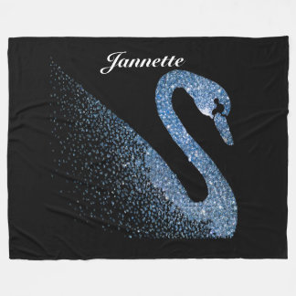 Personalised Blue Diamond Swan Fleece Blanket