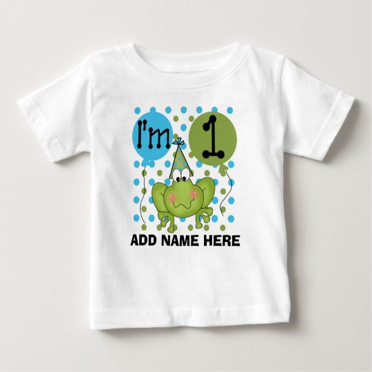 Personalised Blue Frog 1st Birthday Tshirt