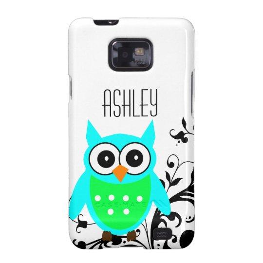 Personalised Blue Green Cute Owl Black Swirls Galaxy SII Covers