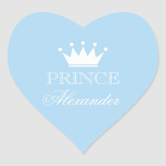 Personalised blue heart baby shower stickers