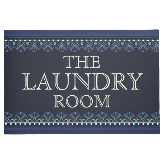 Personalised Blue Laundry Room Sign Doormat