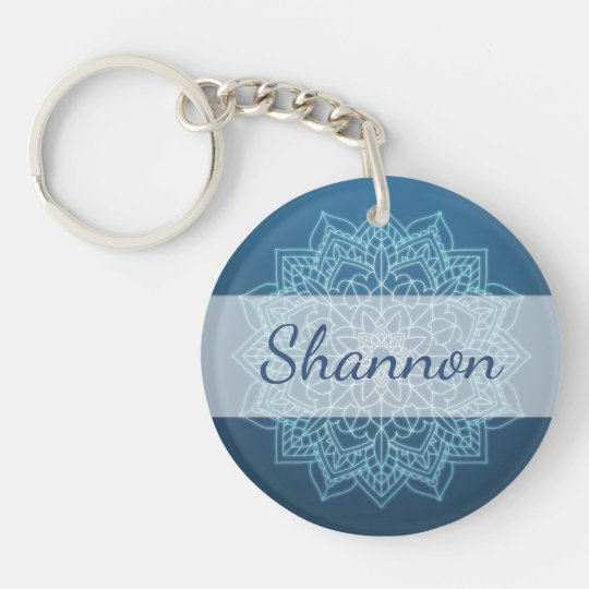 Personalised Blue Mandala Key chain