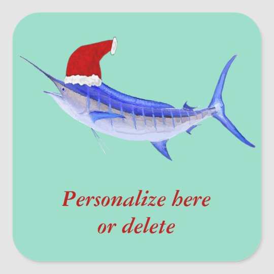 Personalised  Blue Marlin Fish Santa Square Sticker