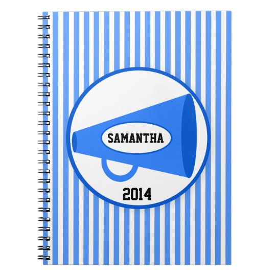 Personalised Blue Megaphone And Blue Stripes Spiral Notebook