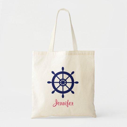 Personalised Blue Nautical Ship Wheel Tote Bag