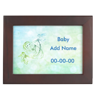 Personalised Blue New Baby Keepsake Box