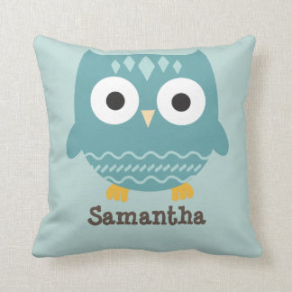 Personalised Blue Owl Pillow