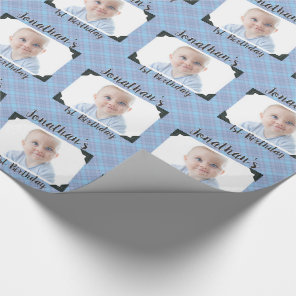 Personalised Blue Plaid Baby Birthday Photo Wrapping Paper