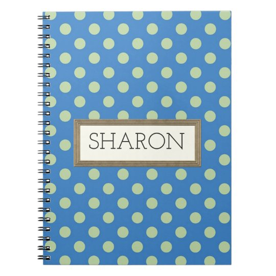 Personalised Blue Polka Dot Notebook