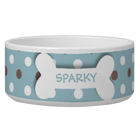 Personalised blue polkadots dog bone pet food bowl