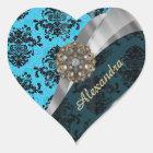 Personalised blue pretty girly damask pattern heart sticker