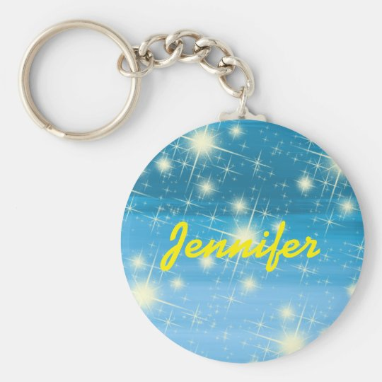 Personalised blue sky with shining stars basic round button key ring