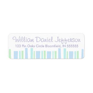 Personalised Blue Stripes Return Address Label