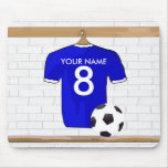 Personalised Blue White Football Soccer Jersey Mouse Pad