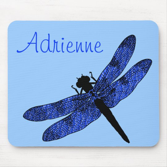 Personalised Blue Winged Dragonfly Mouse Mat