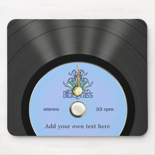 Personalised Bluegrass Vinyl Record Mouse Mat