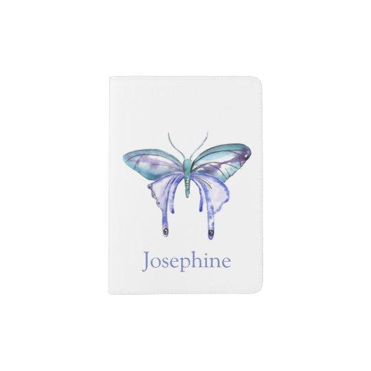 Personalised Bluish Purple Watercolor Butterfly Passport Holder