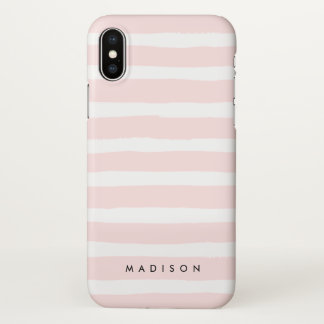 Personalised Blush Pink and White Brushed Stripe iPhone X Case