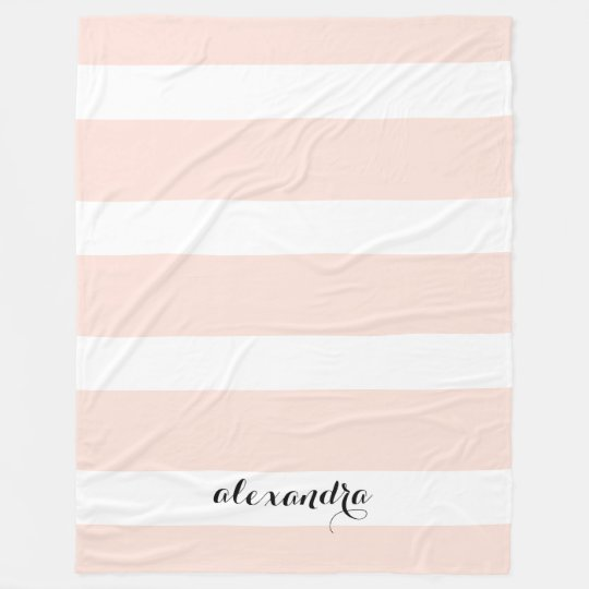 Personalised Blush Pink and White Stripes Fleece Blanket