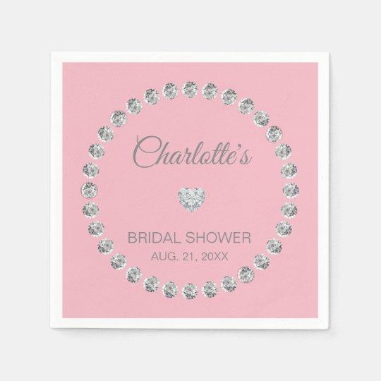 Personalised Blush Pink Diamond BRIDAL SHOWER Paper Serviettes
