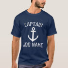 Personalised boat captain name navy anchor shirts
