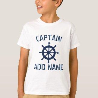 Personalised boat captain nautical kids t shirt