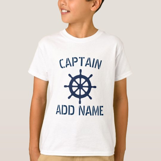 Personalised boat captain nautical kids t shirt