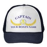 Personalised boat name anchor motif captains cap
